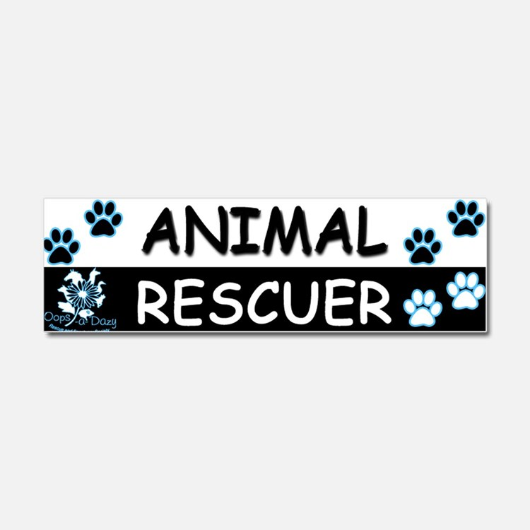 ANIMAL RESCUER (Black, Blue) Car Magnet 10 x 3