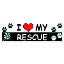 I [Love] MY RESCUE (Green) Sticker (Bumper)