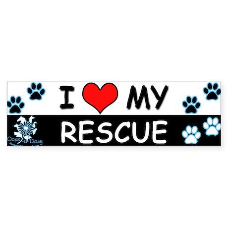 I [Love] MY RESCUE (Blue) Sticker (Bumper)