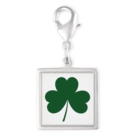shamrock.png Silver Square Charm