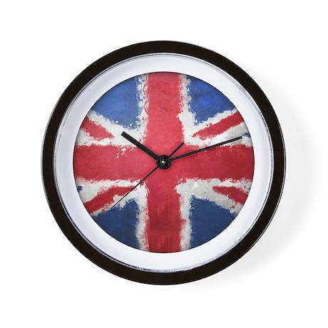 Union Flag Grunge Button Wall Clock