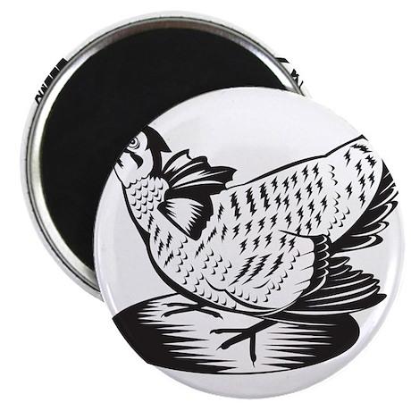 """Prairie Chicken Hen Retro 2.25"""" Magnet (100 pack)"""