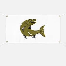 Muskie Muskellunge Fish Retro Banner