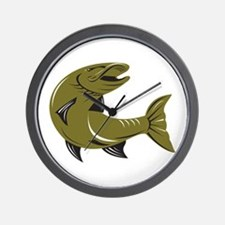 Muskie Muskellunge Fish Retro Wall Clock