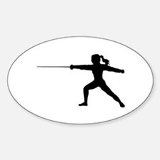 Girl Fencer Lunging Decal