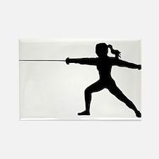 Girl Fencer Lunging Rectangle Magnet