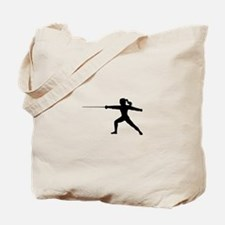 Girl Fencer Lunging Tote Bag