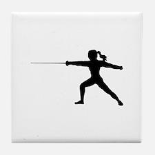 Girl Fencer Lunging Tile Coaster