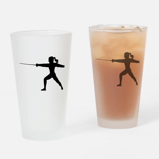 Girl Fencer Lunging Drinking Glass