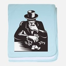 Poker Player Gambler Gambling Retro baby blanket