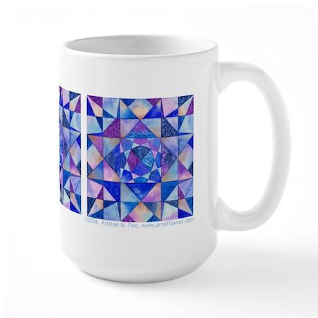 Blue Quilt Watercolor Large Mug