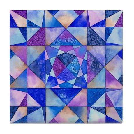 Blue Quilt Watercolor Tile Coaster