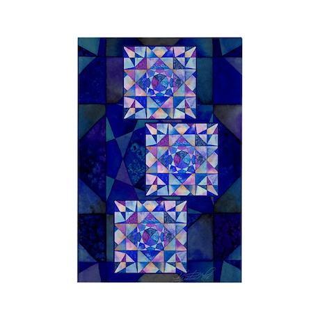 Blue Quilt Watercolor Rectangle Magnet