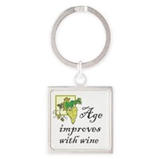 Age improves with Wine Square Keychain