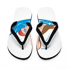 Swimmer Swimming Retro Flip Flops
