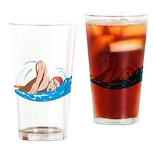 Swimmer Swimming Retro Drinking Glass