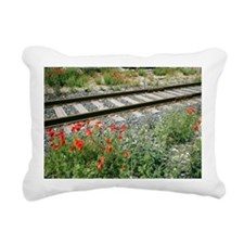 Poppies beside a rail track - Pillow