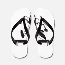 Track and Field Athlete Jumping Hurdles Flip Flops