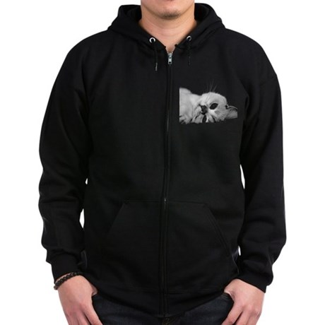 Cat Face Zip Hoodie (dark)