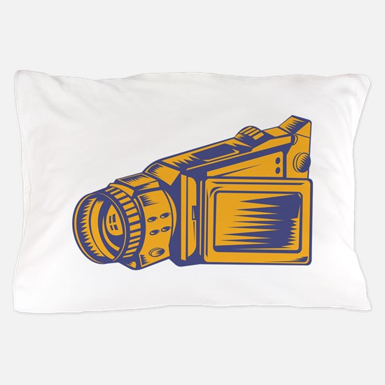 Video Camera Recorder Woodcut Pillow Case