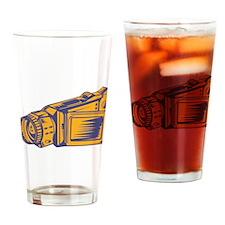 Video Camera Recorder Woodcut Drinking Glass
