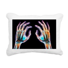 Coloured X-ray of healthy human hands - Pillow