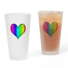 Rainbow Grunge Heart Drinking Glass