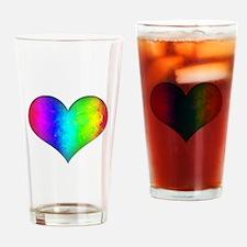 Rainbow Grunge Heart Drinking Glass