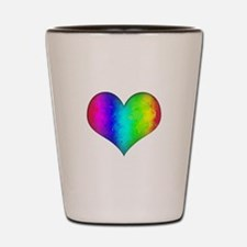 Rainbow Grunge Heart Shot Glass