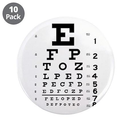"""Eye Chart 3.5"""" Button (10 pack)"""