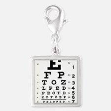 Eye Chart Silver Square Charm