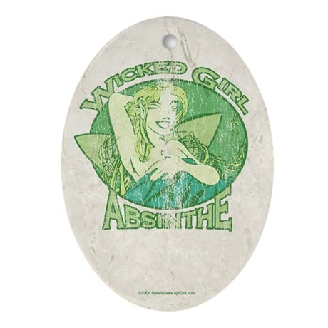 Vintage Wicked Girl Absinthe Ornament (Oval)