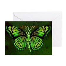Green Fairy Wings Spread Greeting Cards (Pk of 20)