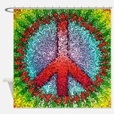 Abstract Peace Sign Shower Curtain
