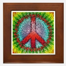 Abstract Peace Sign Framed Tile