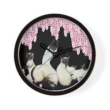 Siamese Cherry Blossoms Wall Clock