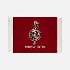 Custom Red Treble Clef Music Design Magnets