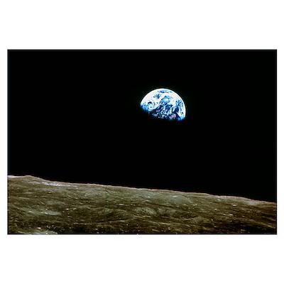Earthrise over Moon, Apollo 8 Poster