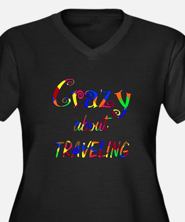 Crazy About Traveling Women's Plus Size V-Neck Dar