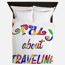 Crazy About Traveling Queen Duvet
