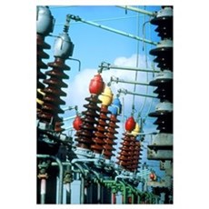 Electrical insulators and cables at power station Poster