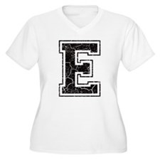 Letter E in black vintage look T-Shirt