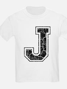 Letter J in black vintage look T-Shirt