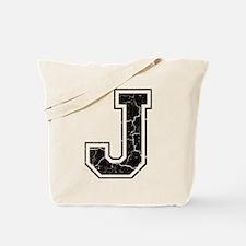 Letter J in black vintage look Tote Bag
