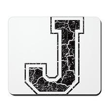 Letter J in black vintage look Mousepad
