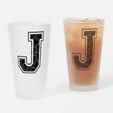Letter J in black vintage look Drinking Glass