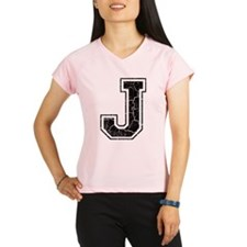 Letter J in black vintage look Performance Dry T-S