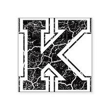 "Letter K in black vintage look Square Sticker 3"" x"