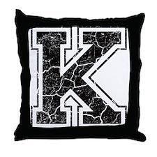 Letter K in black vintage look Throw Pillow