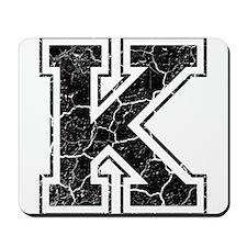 Letter K in black vintage look Mousepad